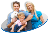 Happy family with white dog